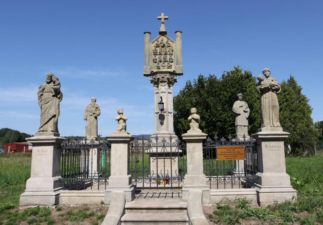 Pilíř s reliéfem 14  svatých pomocníků OTOVICE
