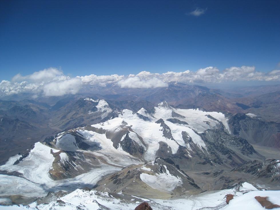 pohled z vrcholu vrchol Aconcaqui