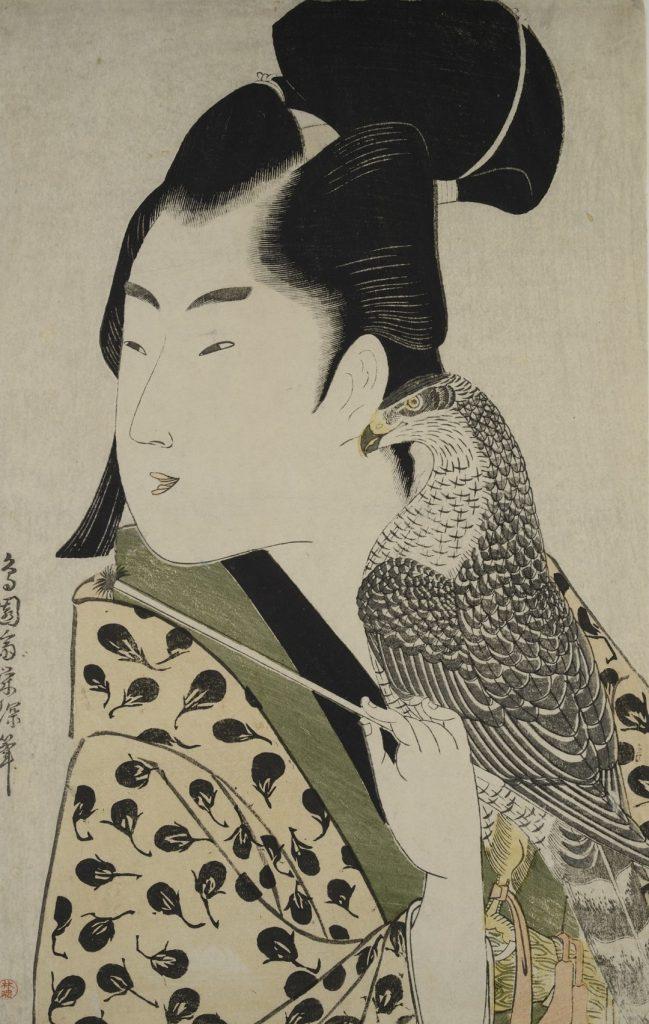 Chōensai Eishin (aktivní 1789-1804)  Sokolník, Japonsko, Edo, 1789-1801  Barevný dřevotisk, 37 × 24,9 cm  © Muzeum umění a řemesel v Hamburku