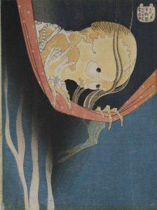Kacušika Hokusai (1760-1849)  Pomstychtivý duch Kobata Koheiji, Japonsko, Edo, 1831/32  Barevný dřevotisk, 25,6 × 19,2 cm  © Muzeum umění a řemesel v Hamburku
