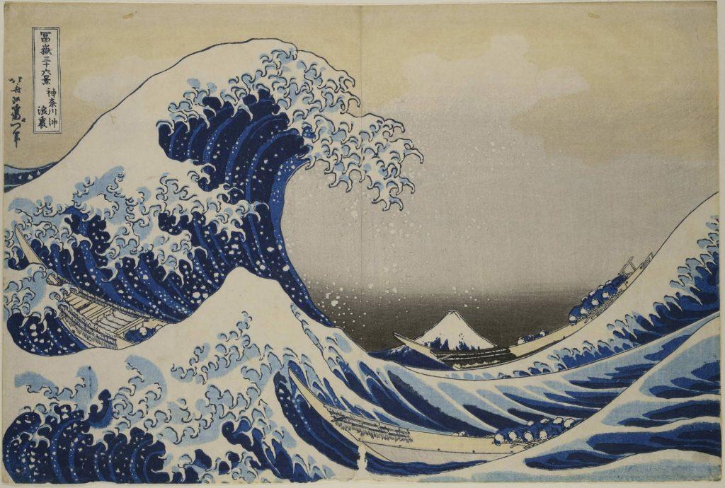 Kacušika Hokusai (1760-1849)  Velká vlna u pobřeží Kanagawy, 1831  Barevný dřevotisk, 24 x 35 cm  © Muzeum umění a řemesel v Hamburku