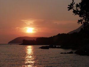 západ slunce z biváčku